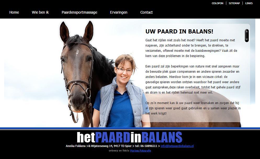 Het paard in balans, website gebouwd en ontworpen door Bsconnect.nl