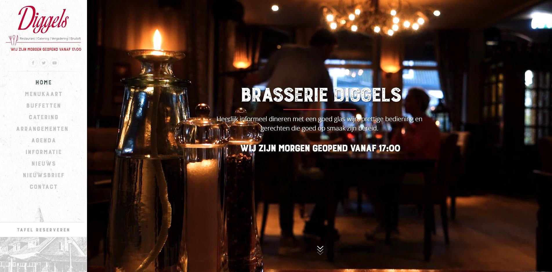 Restaurant Diggels, website gemaakt door BS Connect