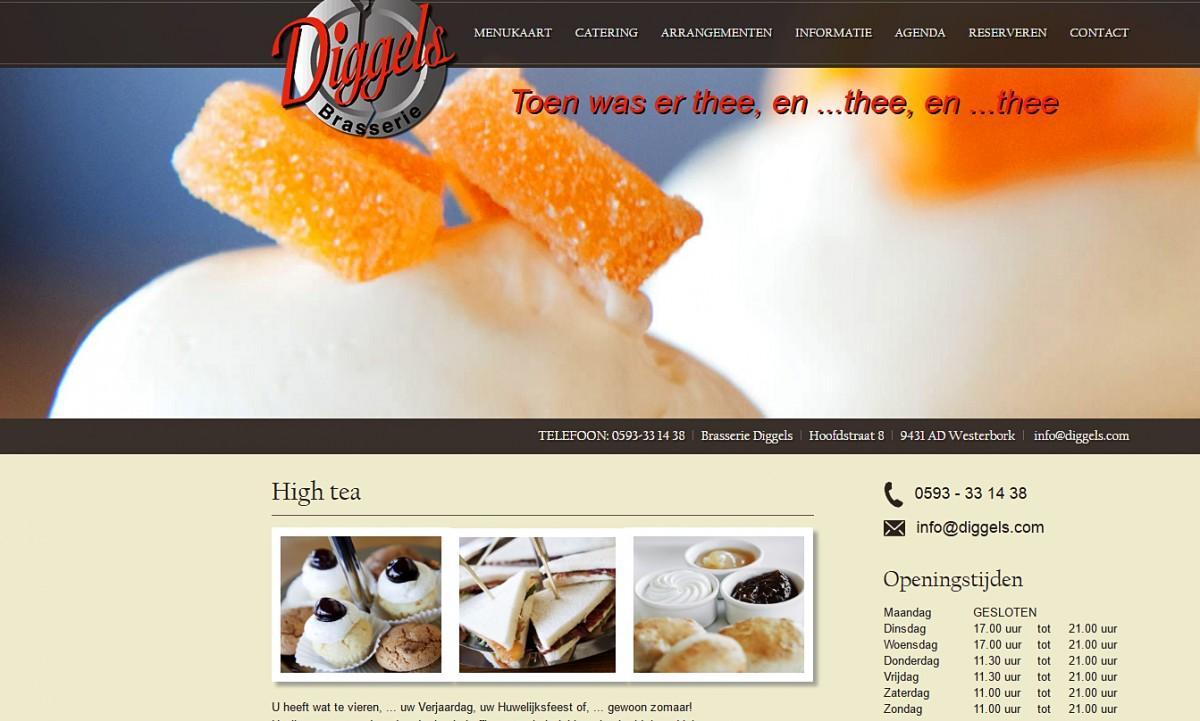 Restaurant DIggels, website gebouwd en ontworpen door Bsconnect.nl